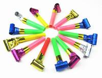 doğum günü oyuncakları üfleme toptan satış-100 Takım Komik Renkli Whistles Çocuk Çocuk Doğum Günü Partisi Üfleme Ejderha Patlama Bebek Doğum Günü Malzemeleri Oyuncaklar hediyeler 100 Adet / takım