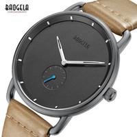 простые черные мужские часы оптовых-Baogela Mens Simple Black Quartz Watch, Leather Bracelete Wristwatch Business Men Watch Waterproof Relogio Masculino BL1806