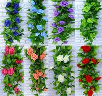 efeu hochzeit dekorationen großhandel-2.6m künstliche Rose Garland Silk Flower Vine Ivy Home Hochzeit Garten Dekoration 4pcs / lot 8 Farben