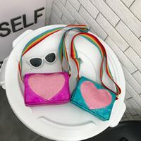 wholesale heart handbags 2018 - Children Handbags 2018 Newest Fashion Shoulder Bags Fashion All-match Heart Girls Princess Mini Coin Purses Lovely Christmas Gifts For Kids