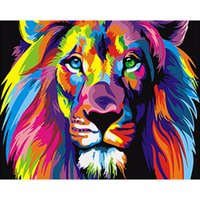 Wholesale Colorful Abstract Art Oil Paintings - Frameless Colorful Lion Animals Abstract Oil Painting Diy Digital Painting By Numbers Modern Wall Art Picture For Home Decor