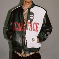 erkeklerin beyaz deri ceket toptan satış-Scarface Işlemeli PU Deri Ceket Siyah Beyaz Deri Moda Erkekler Kadınlar Çift Coat Yüksek Kalite Rahat Ceket HFWPJK031