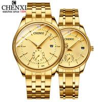 reloj dorado femenino al por mayor-CHENXI Brand Men Women Gold Watch Lovers Reloj de pulsera de cuarzo Mujer Hombre Relojes IPG Golden Steel Watch