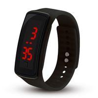 reloj digital del deporte de la jalea al por mayor-2018 Hot New Fashion Sport LED Relojes Candy Jelly hombres mujeres Silicona Rubber Touch Screen Relojes Digitales Pulsera reloj de pulsera