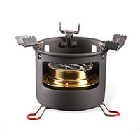 Wholesale stainless steel kitchen appliances resale online - ALOCS CS B13 Camping Picnic Alcohol Cooking Stove Set Portable Liquid Fuel Furnace Burner Gas Stove Kitchen Appliances Cooking Stoves