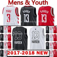 Wholesale men s basketball 13 for sale - 2018 New Youth Men s Houston James Harden Chris Paul Jersey Rockets Kid s Mens stitching Jerseys Adult