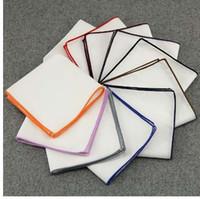 pañuelos azul real al por mayor-Bufandas de pañuelo de alta calidad Pañuelos de bolsillo de algodón Vintage Pañuelos cuadrados de los hombres sólidos 23 * 23 cm Royal Blue Red baratos