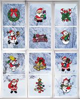 autocollant mural intérieur achat en gros de-Décorations De Noël Fenêtre Autocollant Clings Père Noël Bonhomme De Neige Joyeux Décorations De Noël À L'intérieur Sticker Mural Pour Chambre Des Enfants