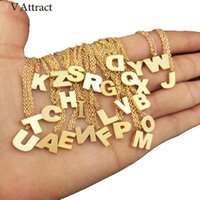 Wholesale Letter O Necklace - whole saleV Attract Custom Initial Charm K L M N O P Q R S T U V W X Z Letter Necklace Women Mens Jewelry Monogram Name Necklaces BFF Gift