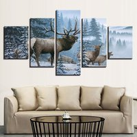 Wholesale Canvas HD Prints Poster Home Decor Wall Art Fashion Deer Pictures Pieces Elk Family In Snow Pine Tree Landscape Painting
