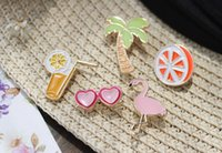 strandstifte groihandel-Creative Hawaii Beach Enamel Pins Drop Oil Brooch Needle Children Gifts Badge Decoration Fashion Jewelry Charms Free Shipping