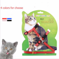 Wholesale nylon pets - Hot Sale 4 Colors Nylon Products For Pet Cat Harness And Leash Adjustable Pet Traction Harness Belt Cat Kitten Halter Collar Cat