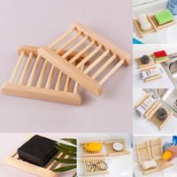 bambusseifen großhandel-Natürliche Bambus Holz Seifenschalen Holz Seifenschale Halter Lagerung Seife Rack Platte Box Container für Bad Dusche Badezimmer WX9-383