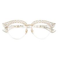 lunettes à demi œil achat en gros de-Cubojue Oeil De Chat Perle Femmes Lunettes Clair Lentille Transparent De La Mode Lunettes De Vue Cadres Femme Moitié Cadre Lunettes De Vue Lunettes Dames