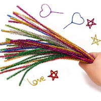 Wholesale craft materials for kids resale online - Glitter Twist Wire Pipe Cleaner DIY Montessori Materials Chenille Plush Toy Educational Toys for Children Kids Home Decor Crafts