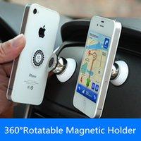 вращение магнита оптовых-Универсальный магнитный автомобиль автомобиля навигации кронштейн ленивый держатель сотового телефона 360 градусов вращения Магнита металла автомобиля стенд кронштейн + розничная коробка