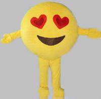 vestindo traje de mascote venda por atacado-2018 De alta qualidade, olhos vermelhos felizes, enfrentam fantasias de mascota de emoji para adultos para vestir