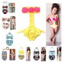 Wholesale Girl Swimsuits - Kids Baby Girls Floral Swimsuit Tankini Bikini Set Swimwear Beachwear Girls Floral Bow Bikini Halter Bandage Swimsuit KKA4401