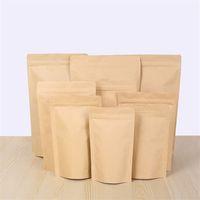 kraft zipper levantar-se sacos venda por atacado-Zipper Brown Kraft aluminizing pouch, stand up saco de papel kraft saco de folha de alumínio Resealable Zip Lock aderência selo Grau Alimentar LZ1873