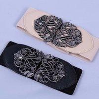 ingrosso cinture di vita in metallo per le donne-Cintura donna vintage nera Cintura elastica in vita PU Cintura in pelle stile palazzo Metallo con fibbia aperta 5 colori