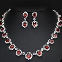 brincos de colar de rubi venda por atacado-2018 novo luxo cz cristal claro rubi colar brincos à noite festa de casamento conjuntos de jóias para a jóia nupcial