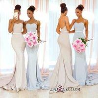 elastische bänder benutzerdefinierte großhandel-Einfache lange Brautjungfer Kleider 2018 elastischer Satin mit Band Sash Sweep Zug nach Maß Hochzeit Gast Maid Of Honor Kleider