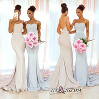 Wholesale winter wedding dresses blue ribbon resale online - Simple Long Bridesmaid Dresses Elastic Satin With Ribbon Sash Sweep Train Custom Made Wedding Guest Maid Of Honor Gowns