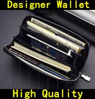 fermuarlar deri cüzdan toptan satış-BOX Tasarımcı Cüzdan ile gelmek yüksek kalite Lüks erkek Tasarımcı marka kadın cüzdan Hakiki Deri fermuar Çanta çantalar 60015 60017