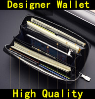 Wholesale mens bags brands resale online - Come with BOX Designer Wallet high quality Luxury mens Designer brand women wallets Genuine Leather zipper Handbags purses