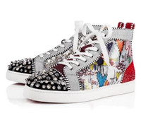 Wholesale stud men - 2018 New Season Red Bottom Sneakers Men Shoes Luxury Print Silver Pik Pik No Limit RARE studs and rhinestones graffiti SIZE:35-46