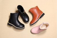 Wholesale Princess Shoes - Girls leather boots 2018 Winter new children Martin boots Princess plus velvet in the tube shoes