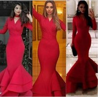 Wholesale sexy long silk robes - Sexy Red Mermaid Evening Dresses 2018 Long Sleeve High Neck Formal Party Prom Dresses Pageant Gowns Robe De Soiree Evening Gowns