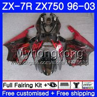 98 kawasaki ninja zx7r verkleidung großhandel-Körper Für KAWASAKI NINJA ZX 7R ZX750 ZX7R 96 97 98 99 203HM.0 ZX-750 ZX 7 R ZX 750 ZX-7R 1996 1997 1999 1999 Verkleidung Rote Flammen schwarz