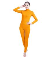 gelbe einheit großhandel-(SWH029) Gelber Spandex-voller Körper-Haut-fester Overall Zentai-Anzug-Bodysuit-Kostüm für Frauen / Männer Ganzanzug Lycra Dancewear
