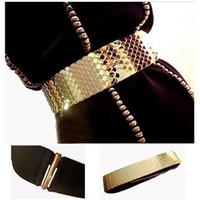 cinturones elásticos de metal dorado al por mayor-4.5 cm de ancho cinturón elástico negro mujeres correa de oro ceñidor de piel de pescado marca cinturones para mujeres Cinto Feminino S / M / L bg-013