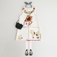 Wholesale Dress Neck Heart - 2018 New Spring Clothing Children's Clothes Printing Girl Dresses Jumper Skirt High-end 100% Cotton Princess Dress Heart