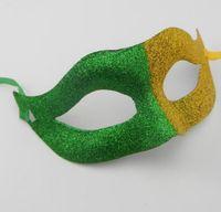 mascarilla ventilador al por mayor-Fans Carnival Glitter Ball Mask Funny Fancy Dress Stage Do Fun Joker Hombres Mujeres Half Face Masks apoyos del partido amarillo verde