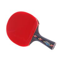best table tennis rubbers großhandel-Beste Qualität Holz Bat Griff Tischtennisschläger Red Rubbers Pingpong Paddle Kurze Halter Gerade Grip Offensive Racket