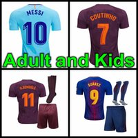 Wholesale Messi Jersey Kids - 2017 SUAREZ O.DEMBELE Jerseys 2017 2018 kids kit Camisas Neymar Messi INIESTA PIQUE Soccer Jersey 17 18 homa away 3rd Camiseta de futbol