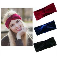 Wholesale ear head wraps - 26 Colors Women Velet Turban Head Wrap Hairband Winter Ear Warmer Headband Solid Color Cross Hair Band Hair Accessory CCA9080 120pcs