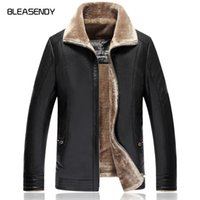 Wholesale Male Leather Wool Clothing - 2017 New Winter Men's Leather Jackets Business Casuals Stand Hairy Liner Warm Faux Fur Thick Coats for Male Brand Clothing