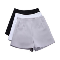 горячие черные юбки оптовых-2017 New Summer hot Fashion New Women Shorts Skirts High Waist Casual Suit Shorts Black White Women Short Pants Ladies
