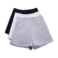 pantalon blanco negro al por mayor-2017 Nuevo Verano caliente de La Manera de Las Nuevas Mujeres Pantalones Cortos Faldas de Cintura Alta traje Casual Pantalones Cortos Negro Mujeres Pantalones Cortos de Las Señoras