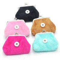 Wholesale coin snap wallet women - 2 PCS Lot 5 Color Fluff Money Bags Coin Purses Small Wallets Pouch Fit 18MM Snap Buttons Jewelry Gift For Women Bracelet 2131