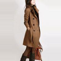 abrigo largo de lana para damas al por mayor-Abrigo de lana de invierno de manga larga para mujer estilo europeo tallas grandes casaco feminino damas otoño nuevo Abrigos de lana largos delgados Z5405