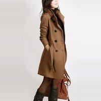 kadın uzun yün kışlık toptan satış-Uzun kollu kış yün ceket kadınlar Avrupa tarzı artı boyutu casaco feminino bayanlar sonbahar yeni İnce uzun yün palto Z5405
