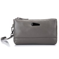 Wholesale hand wallet for mobile - First Layer Cowhide Lady Hand Bag Leisure Litchi Pattern Women Clutch Wallets Genuine Leather Casual Mobile Phone Bag for Female