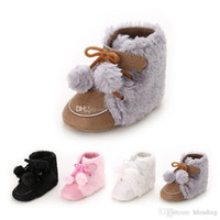 Wholesale wholesale shoe gifts for sale - Baby First Walkers kids girls boys boots toddler Pompons winter warm snow boots shoes infant Christmas gifts C2511