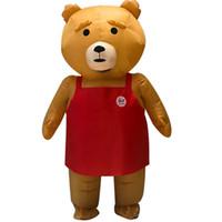 mascotes de urso adulto venda por atacado-Novidade Adulto Halloween Trajes Infláveis do Partido da mascote Do Natal Fantasia urso Animal traje para Macacão Adequado LJ-047