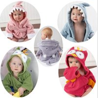 hooded cotton baby blanket 2018 - Baby Bath Towel Newborn Blanket Cute Bedding Swaddle Robes Hooded Bathing Towel Kids Animal Bathrobe Infant Cartoon Clothes YFA251